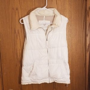 Two toned white and cream puffy vest